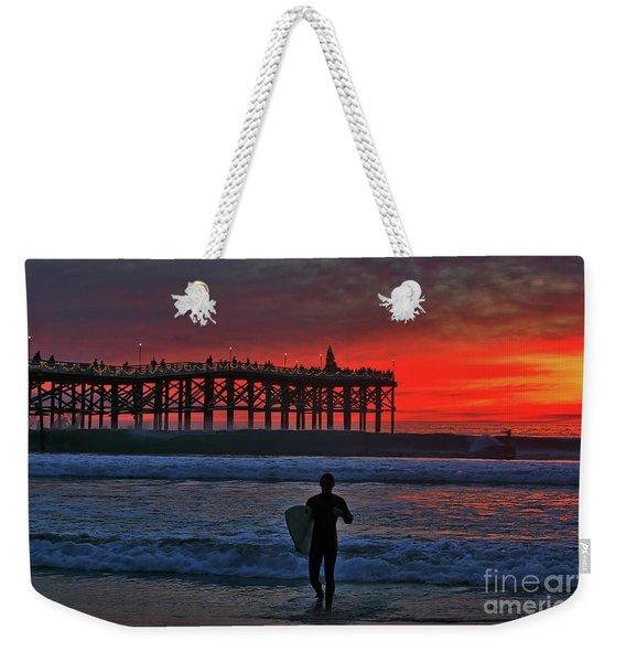 Weekender Tote Bag featuring the photograph Christmas Surfer Sunset by Sam Antonio Photography