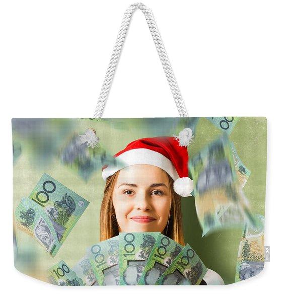 Christmas Woman With Australian Dollar Money Fan Weekender Tote Bag