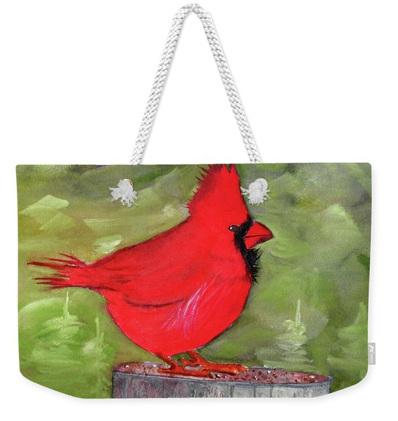 Weekender Tote Bag featuring the painting Christopher Cardinal by Rich Stedman