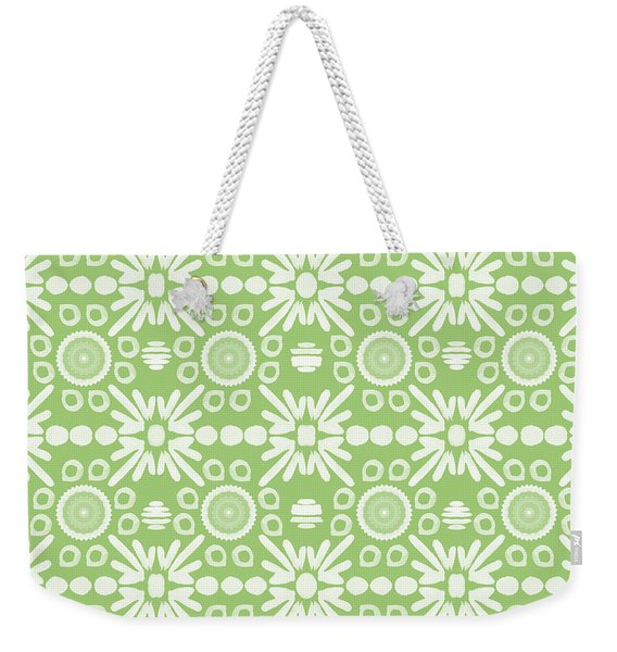 Cilantro- Green And White Art By Linda Woods Weekender Tote Bag