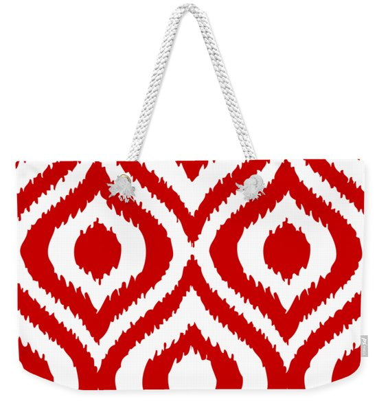 Circle And Oval Ikat In White T02-p0100 Weekender Tote Bag