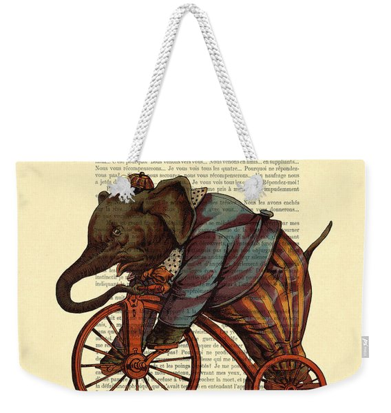 Circus Elephant On Bicycle Weekender Tote Bag