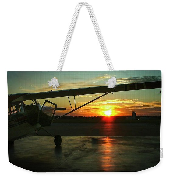 Citabria Peeking Out Of The Hangar Door Weekender Tote Bag
