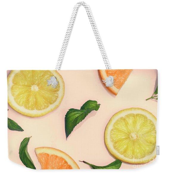Citrus Pattern On Retro Pink Background Weekender Tote Bag