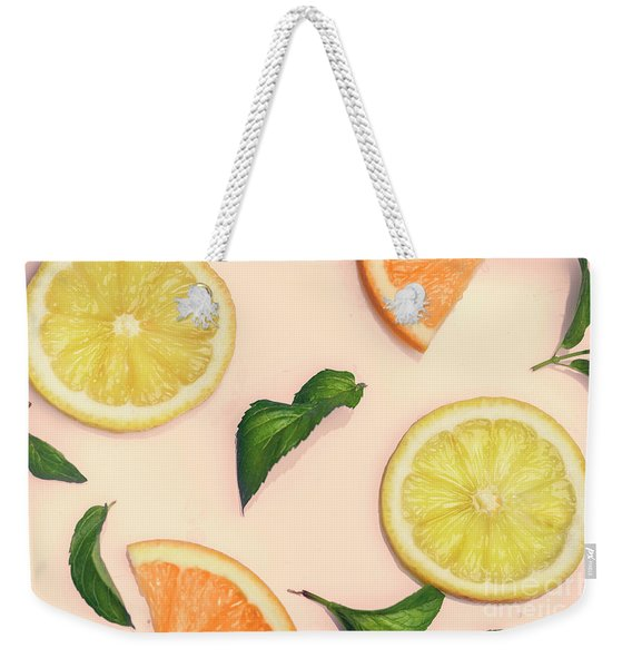 Citrus Pattern On Retro Pink Background Weekender Tote Bag