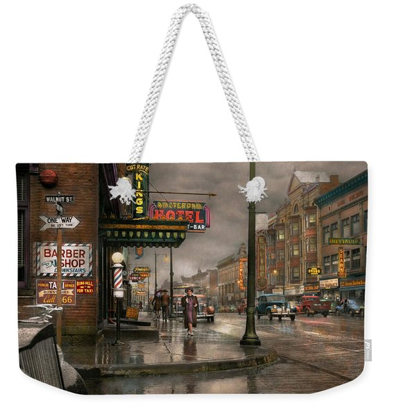 City - Amsterdam Ny -  Call 666 For Taxi 1941 Weekender Tote Bag