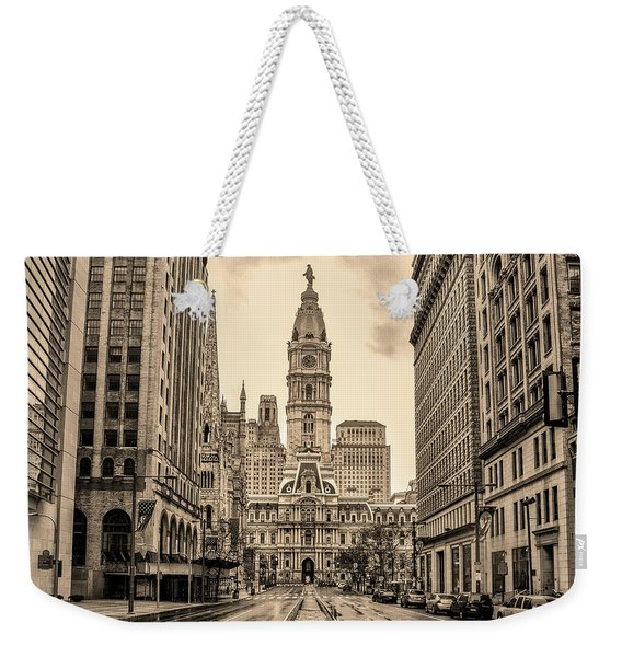 City Hall - Broad Street Philadelphia - In Sepia Weekender Tote Bag