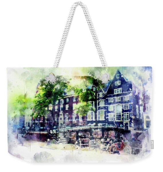 city life in watercolor style - Old Amsterdam  Weekender Tote Bag