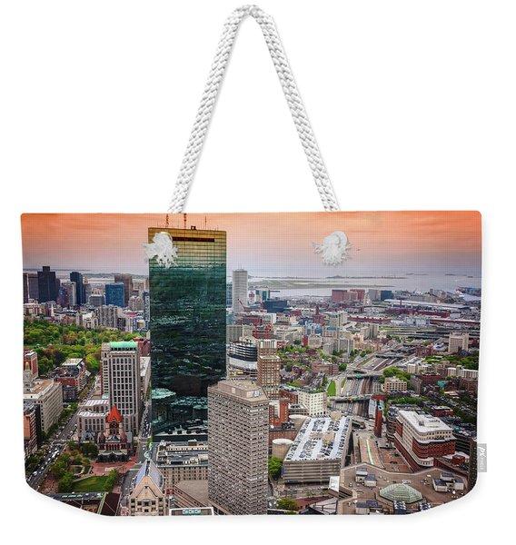 City Of Boston Reflected  Weekender Tote Bag