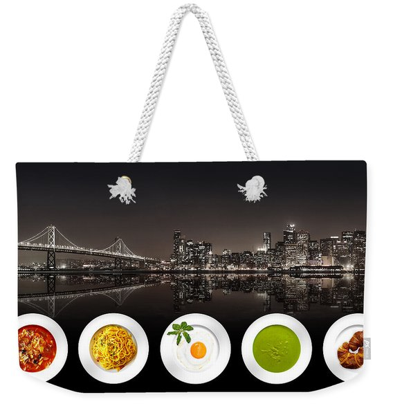 Weekender Tote Bag featuring the digital art City Of Cultural Cuisines by ISAW Company