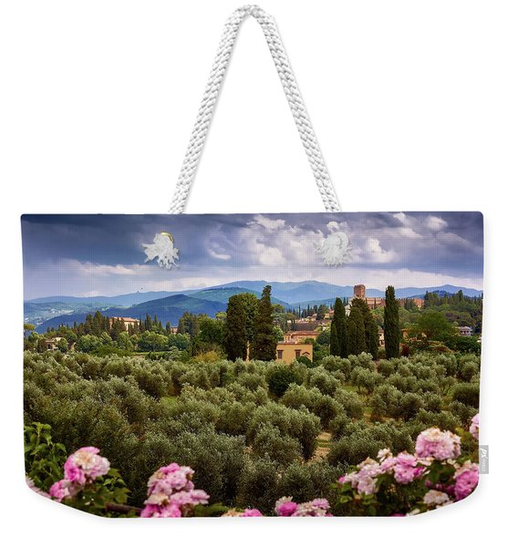 Tuscan Landscape With Roses And Mountains In Florence, Italy Weekender Tote Bag