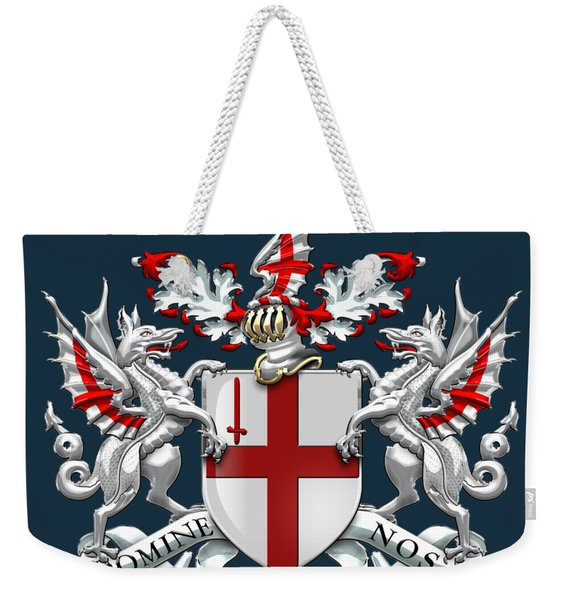 City Of London - Coat Of Arms Over Blue Leather  Weekender Tote Bag