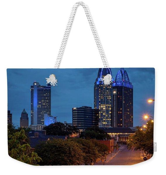 City Of Mobile In Blue Weekender Tote Bag