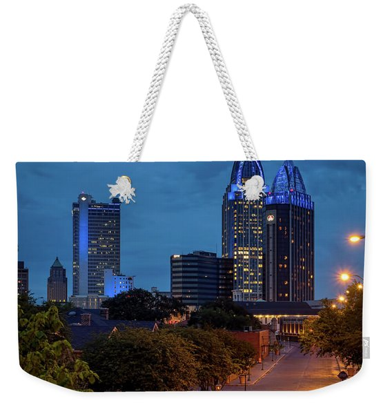 City Of Mobile In Blue Weekender Tote Bag