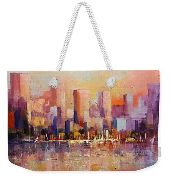 Weekender Tote Bag featuring the painting Cityscape 2 by Rosario Piazza