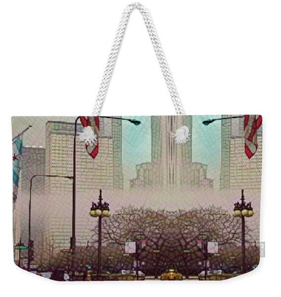 Cityscape With A Bit Of Fog Weekender Tote Bag