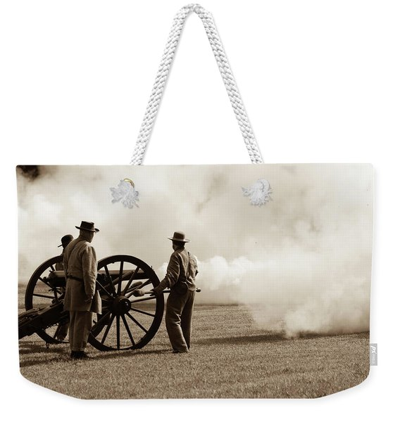 Civil War Era Cannon Firing  Weekender Tote Bag