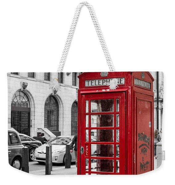 Red Telephone Box In London England Weekender Tote Bag