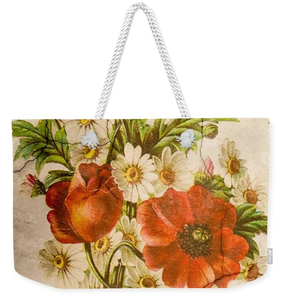 Classic Vintage Shabby Chic Rustic Poppy Bouquet Weekender Tote Bag