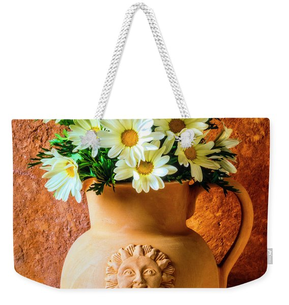 Clay Pitcher With Daises Weekender Tote Bag