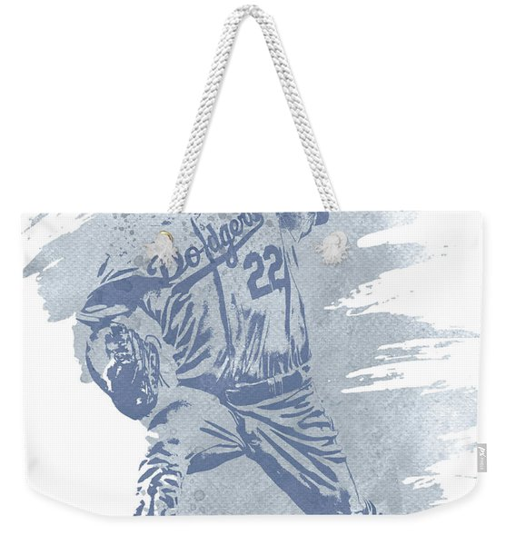 Clayton Kershaw Los Angeles Dodgers Water Color Art 1 Weekender Tote Bag