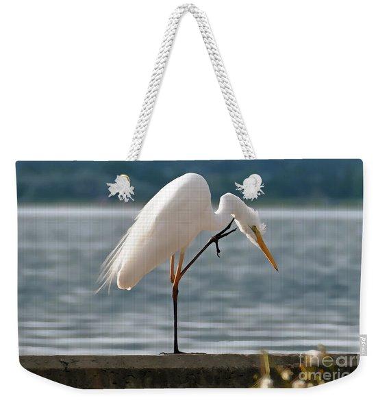 Cleaning White Egret Weekender Tote Bag