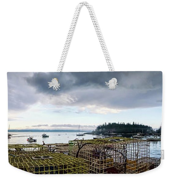 Weekender Tote Bag featuring the photograph Clearing Skies Over Sheepscot Bay, Georgetown, Maine by John Bald