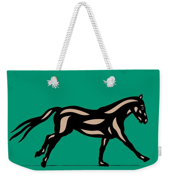 Clementine - Pop Art Horse - Black, Hazelnut, Emerald Weekender Tote Bag
