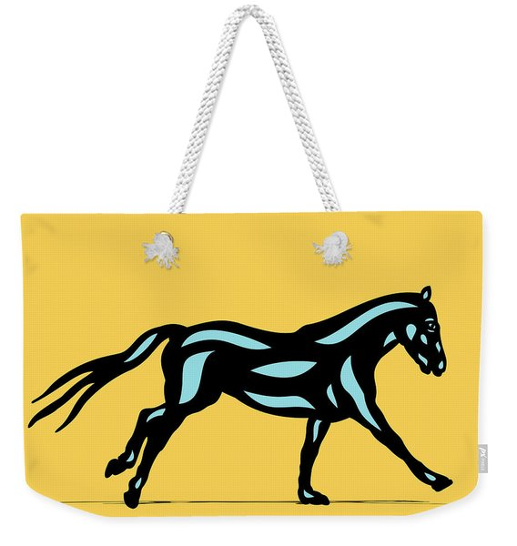 Clementine - Pop Art Horse - Black, Island Paradise Blue, Primrose Yellow Weekender Tote Bag