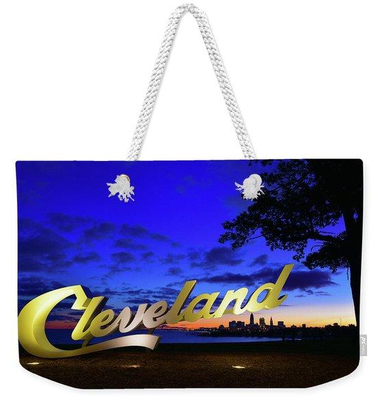 Cleveland Sign Sunrise Weekender Tote Bag