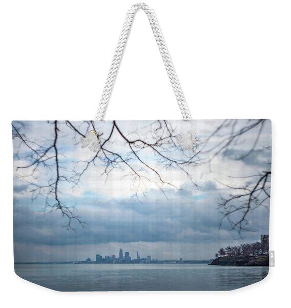 Cleveland Skyline With A Vintage Lens Weekender Tote Bag