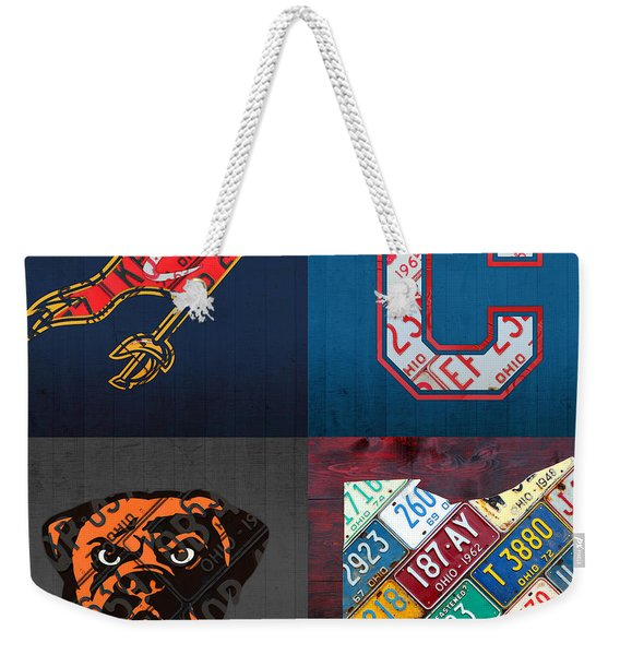 Cleveland Sports Fan Recycled Vintage Ohio License Plate Art Cavaliers Indians Browns And State Map Weekender Tote Bag