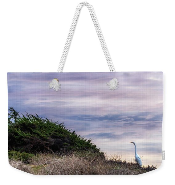 Weekender Tote Bag featuring the photograph Cliffside Watcher by Laura Roberts