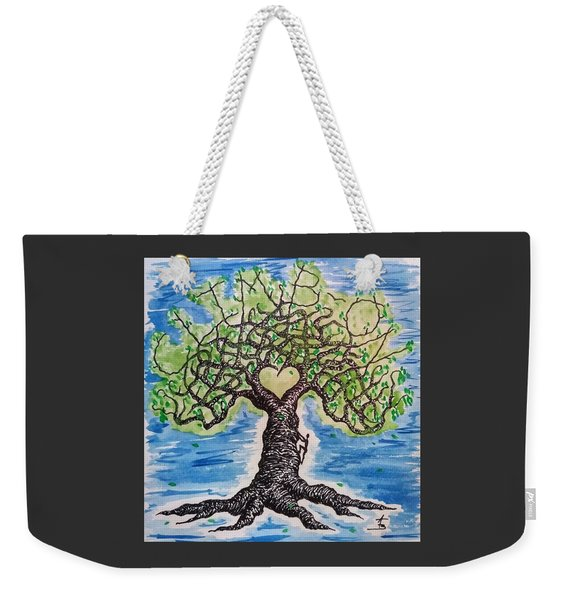 Weekender Tote Bag featuring the drawing Climb-on Love Tree by Aaron Bombalicki