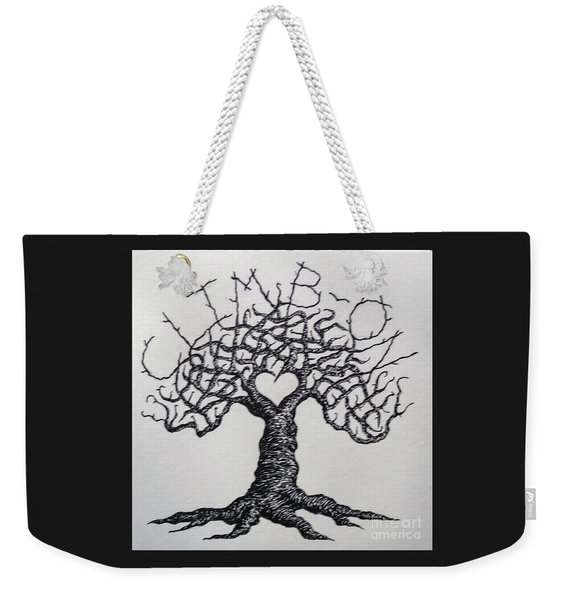 Weekender Tote Bag featuring the drawing Climb-on Love Tree- Blk/wht by Aaron Bombalicki