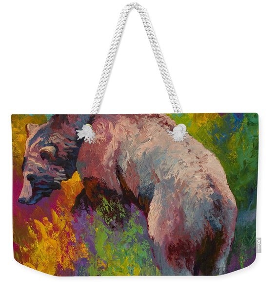 Climbing The Bank - Grizzly Bear Weekender Tote Bag
