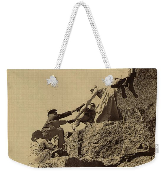 Climbing The Great Pyramid Of Giza, 19th Century Weekender Tote Bag