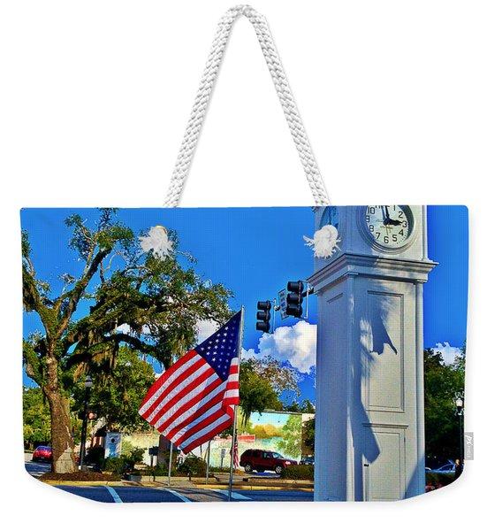 Clock Tower And Flag Conway South Carolina Weekender Tote Bag