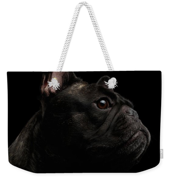 Close-up French Bulldog Dog Like Monster In Profile View Isolated Weekender Tote Bag
