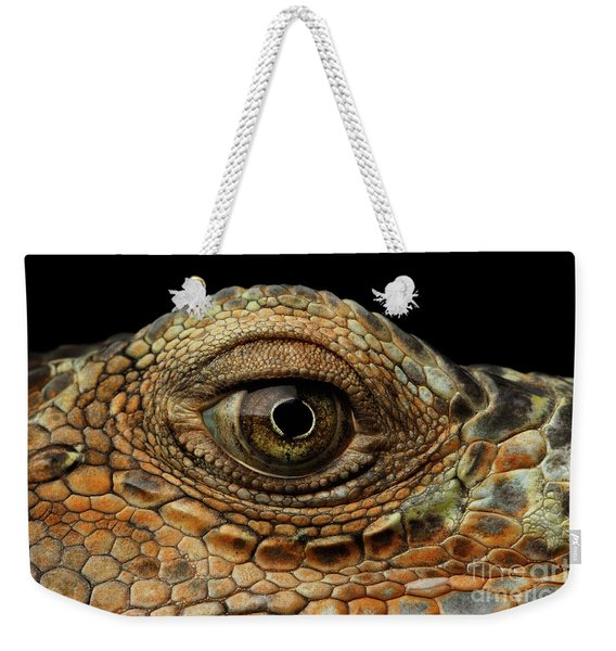 Closeup Eye Of Green Iguana, Looks Like A Dragon Weekender Tote Bag