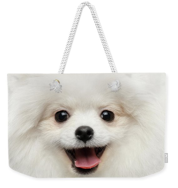 Closeup Furry Happiness White Pomeranian Spitz Dog Curious Smiling Weekender Tote Bag