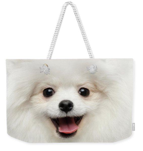 Closeup Furry Happiness White Pomeranian Spitz Dog Curious Smiling Weekender Tote Bag