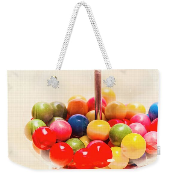 Closeup Of Colorful Gumballs In Candy Dispenser Weekender Tote Bag