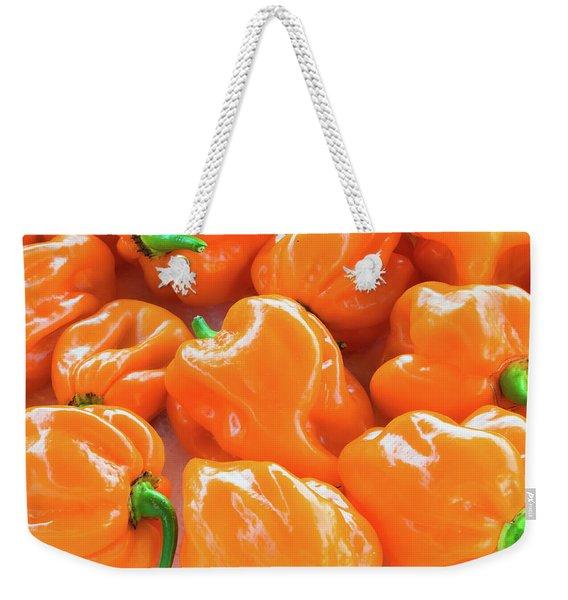 Closeup Of Fresh Chillies Habanero Orange Weekender Tote Bag