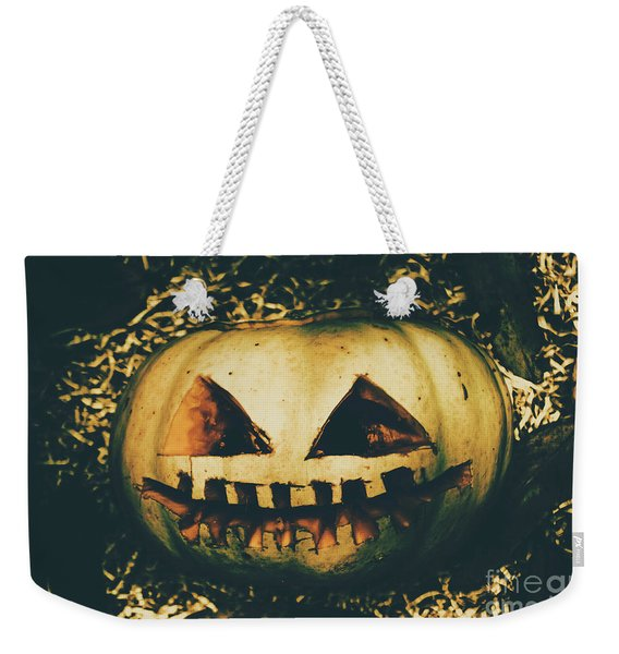 Closeup Of Halloween Pumpkin With Scary Face Weekender Tote Bag