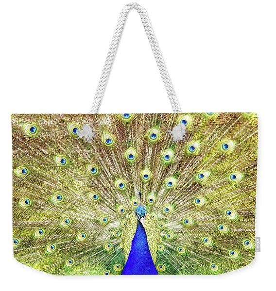 Closeup Of Peacock Displaying Train Weekender Tote Bag