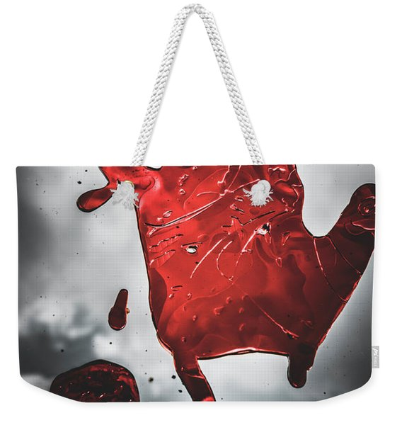 Closeup Of Scary Bloody Hand Print On Glass Weekender Tote Bag