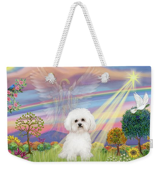 Cloud Angel And Bichon Frise Weekender Tote Bag