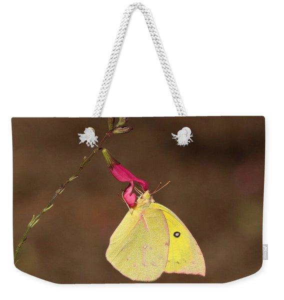 Clouded Sulphur Butterfly On Pink Wildflower Weekender Tote Bag