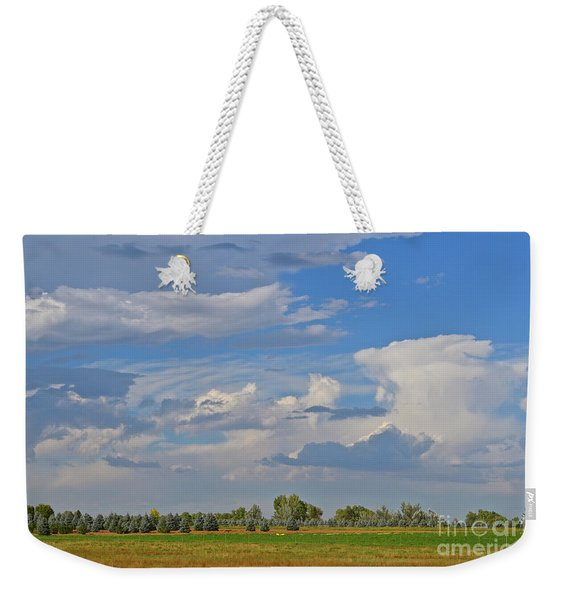 Clouds Aboive The Tree Farm Weekender Tote Bag